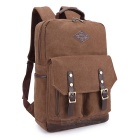 KAUKKO ZP20 15L Retro Style Unisex Canvas Backpack - Dark Khaki