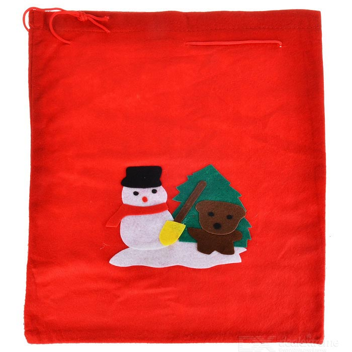 Snowman Pattern Gift Storage Pouch Bag for Christmas - Red + White