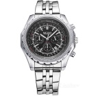 MS2006G-1 Stainless Steel Band Alloy Case Luxury Sport Watch w/ Sub-dial for Decoration