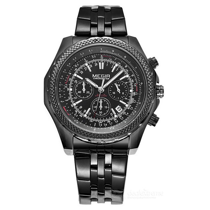 MEGIR 2006 Men's Quartz Analog Wrist Watch - Black
