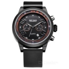 MN2001G/BK-1 Silicone Band Alloy Case Luxury Sport Watch w/ Sub-dial for Decoration