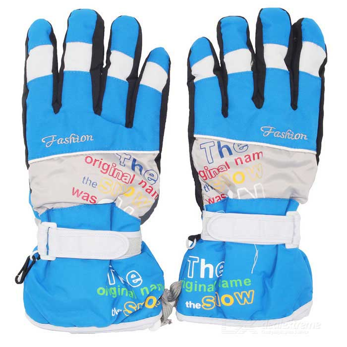 Outdoor Sports Skiing Warm Taslan + Cotton Full-Finger Gloves - Blue