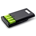 4-Slot LCD-display Mobile Power bank / batteriladdare för 18.650 3400mAh batterier - svart