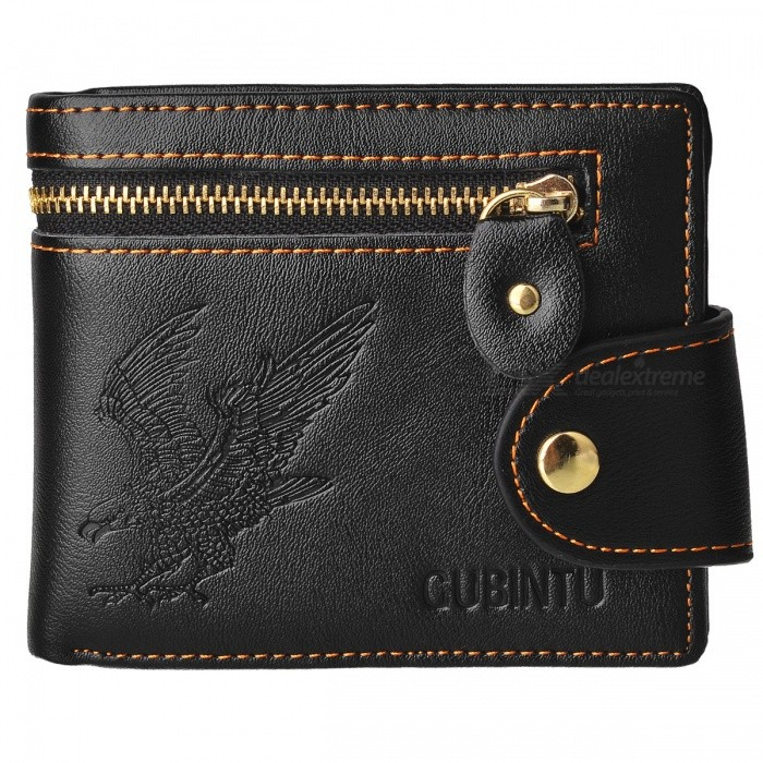 GUBINTU Retro Zipper + Hasp Coin PU Pocket Business Wallet for Men