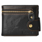 Fashion Cross Vertical Style Wallet / PU Leather Coin Pocket w/ Card Holders - Black