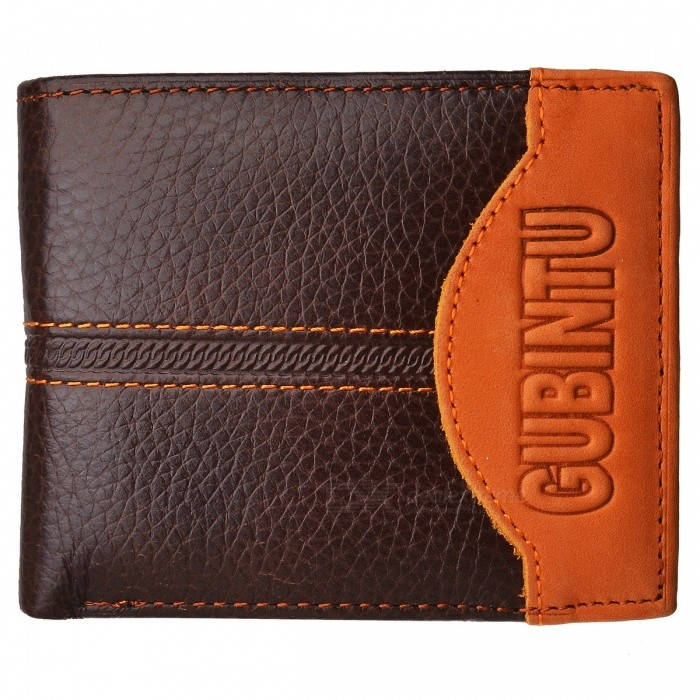 GUBINTU G8042-1C Cowhide Leather Short Retro Coin Pocket Wallet -Brown