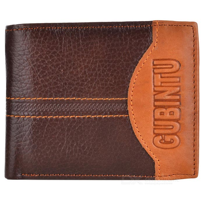 GUBINTU G8042-1M Cowhide Leather Short Retro Coin Pocket Men Wallet