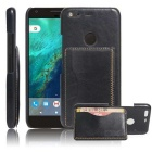 Shock-proof Back Case w/ Holder, Card Slots for Google Pixel - Black