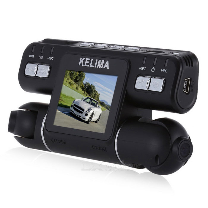 KELIMA - 020 270 Degree Rotation Dual Cameras 2.0 Car DVR - BlackCar DVRs<br>Form  ColorBlack + BlueModelKELIMA -020Quantity1 DX.PCM.Model.AttributeModel.UnitMaterialABS + PlasticChipsetOthers,Generalplus 2248Screen Size2-2.9,3-3.9Other FeaturesMotion Detection,Microphone,Loop Record,Delay Shutdown,HDMI,Others,Parking monitoring accelerometerScreen Resolution:1920 x 1080 DX.PCM.Model.AttributeModel.UnitCamera Pixel0.3-0.9MP,2.9-2.9MP,3-4.9MP DX.PCM.Model.AttributeModel.UnitVideo Resolution1920 x 1080,1440 x1080,1280 x 720 DX.PCM.Model.AttributeModel.UnitWide Angle120°-149°Camera Lens2Image SensorCMOSImage Sensor Size1/2.7 inchesCamera Pixel5.0MPExternal Camera PixelNoWide Angle120°Optical ZoomNoScreen TypeTFTScreen Size2.0 inchesISOOthers,100     200Exposure Compensation-2;-1.7;-1.3;-1;-0.7;-0.3;0;+0.3;+0.7;+1;+1.3;+1.7;+2.0White Balance ModeAutoVideo FormatAVIDecode FormatOthers,MJPGVideo OutputPAL,NTSC,HDMIVideo Resolution720P(1280 x 720),1080FHD(1920 x 1080),VGA(640 x 480),WVGA(848 x 480),1080P(1440 x 1080)Video Frame Rate25ImagesJPEGStill Image Resolution12M 4032x3024,8M 3264x2448,5M 2592x1944,3M 2048x1536,OthersAudio SystemMonophonyMicrophoneYesMotion DetectionYesAuto-Power OnYesLED QtyNoneIR Night VisionYesG-sensorYesLoop RecordOthers,1 3 5Delay ShutdownYesTime StampYes (ON Or OFF)Built-in Memory / RAMNoMax. Capacity32GBStorage ExpansionTFAV InterfaceMini HDMIData interfaceMini USBWorking Voltage   5 DX.PCM.Model.AttributeModel.UnitBattery Capacity250 DX.PCM.Model.AttributeModel.UnitWorking Time5-6 DX.PCM.Model.AttributeModel.UnitMenu LanguageEnglish,French,German,Italian,Portuguese,Russian,Japanese,Korean,Chinese Simplified,Chinese TraditionalOther FeaturesThis recorder chips, generalplus 2248 was used in 1080 p FHD hd recording 120 degree Angle<br>Support loop video<br>Parking monitoring accelerometer support multiple languages<br>Rotate 270 degrees dual camera bring you a clearer and more detailed records<br>The role of the sensor and a key lock function can protect your documents in an emergency<br>Energy-saving auto power switch<br>More storage space to support 32 gb extension TF card (not included)<br>USB reader helps you to transfer files from the TF cards PC<br>Can save more space, the design of the motion detection<br>You can choose to record a key mute function in silent modePacking List1 * Dual cameras recorder1 * Car charger (line length 300 cm)1 * Stand1 * OTG card reader 1 * Sticker1 * English manual<br>