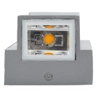 JIAWEN Outdoor IP65 2-LED 2 * 3W Warm White Light Wall Light - Gray