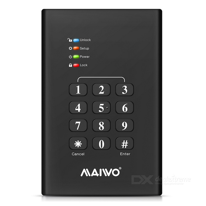 "MAIWO K2568KPA USB3.0 2.5"" SATA Digital Encryption HDD Enclosure"