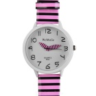 Zebra Pattern Fashion Quartz Analog Wrist Watch - Pink + White