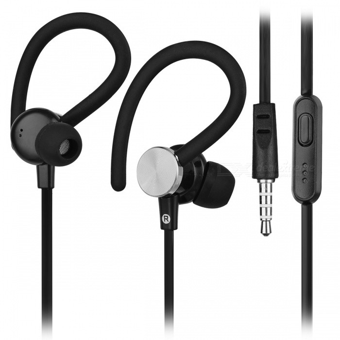 Cwxuan 3.5mm In-ear Wired Earphone w/ Microphone - BlackHeadphones<br>Form  ColorBlackBrandCwxuanMaterialPVCQuantity1 DX.PCM.Model.AttributeModel.UnitConnection3.5mm WiredBluetooth VersionNoLeft &amp; Right Cables TypeEqual LengthHeadphone StyleBilateral,In-Ear,Ear-hookWaterproof LevelIPX6Applicable ProductsUniversalHeadphone FeaturesPhone Control,With Microphone,For Sports &amp; ExerciseRadio TunerNoSupport Memory CardNoSupport Apt-XNoChannels2.0Impedance16 DX.PCM.Model.AttributeModel.UnitPacking List1 * Earphone<br>