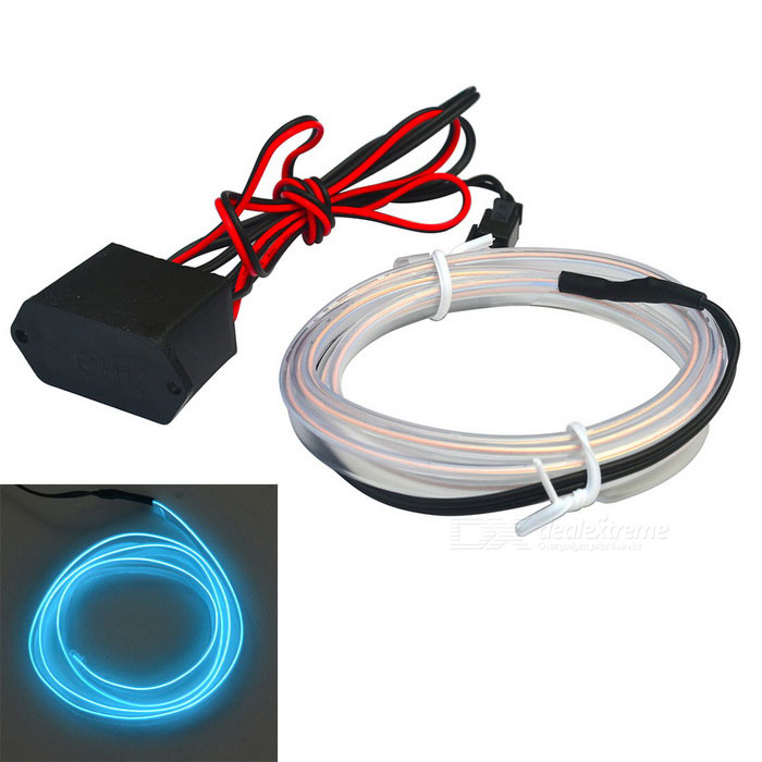 Jiawen 2m Flexible Car Decorative Ice Blue Neon Light w/ 2.3mm EL Wire