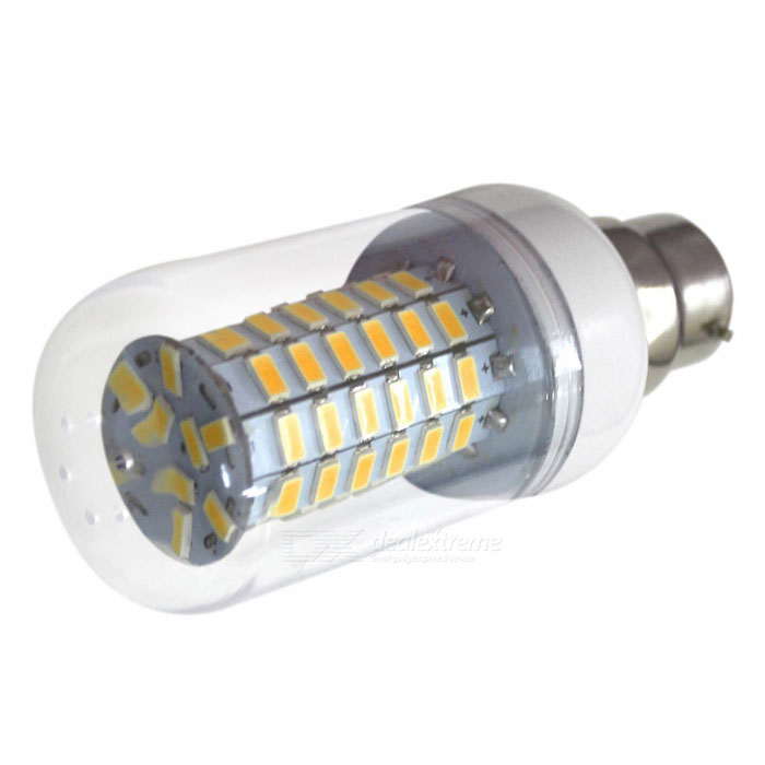 HONSCO B22 6W 69-5730 SMD LED Corn Light Bulb Warm White - TransparentOther Connector Bulbs<br>Color BINWarm WhiteMaterialPVC + PCBForm  ColorWhite + SilverQuantity1 DX.PCM.Model.AttributeModel.UnitPower6WRated VoltageAC 85-265 DX.PCM.Model.AttributeModel.UnitConnector TypeB22Chip BrandOthers,SananChip Type5730Emitter TypeLEDTotal Emitters69Theoretical Lumens700 DX.PCM.Model.AttributeModel.UnitActual Lumens600 DX.PCM.Model.AttributeModel.UnitColor Temperature3000KDimmableNoBeam Angle360 DX.PCM.Model.AttributeModel.UnitCertificationCE,RoHSPacking List1 * LED light<br>