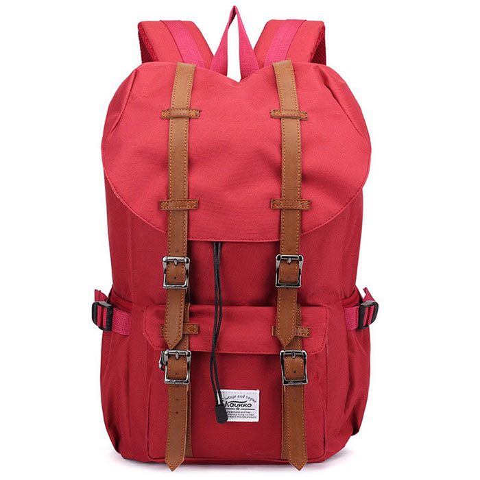 "KAUKKO EP5 22L Nylon Shoulder Backpack Fits for 15"" Laptop - Red"