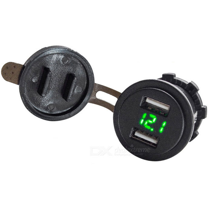 Eastor 4.2A Dual USB Charger w/ Voltmeter 12~24V Green LED Display