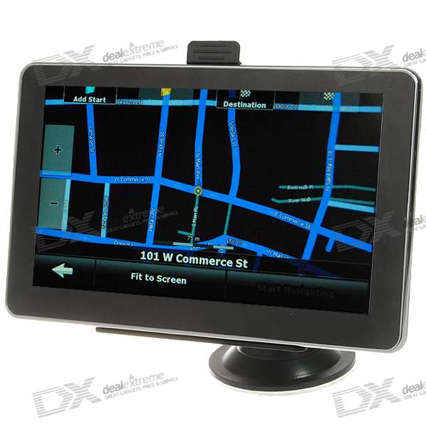 7 LCD Windows CE 6.0 GPS Navigator w/FM Transmitter + Built-in USA/Canada Maps 800f 7 resistive screen win ce 6 0 car gps navigator black