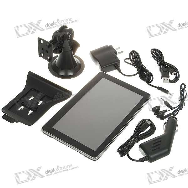 "7"""" LCD Windows CE 5.0 GPS Navigator w/FM Transmitter + Built-in USA/Canada Maps"