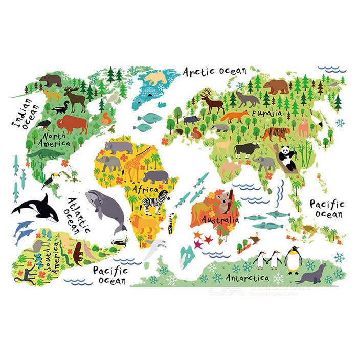 Home Decoration Background English Animal World Map Wall StickerWall Sticker <br>Form ColorColourfulShade Of ColorMulti-colorMaterialPVCQuantity1 DX.PCM.Model.AttributeModel.UnitStyleCasual,Fashion,ContemporaryDimension90*60 DX.PCM.Model.AttributeModel.UnitPacking List1 * Wall sticker<br>