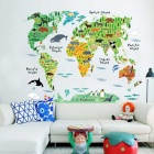 Home Decoration Background English Animal World Map Wall Sticker