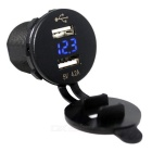 DC 5V IP66 2-Port USB Socket Power w/ Voltmeter + Cigarette Lighter for Car Boat Motocycle