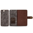 Split Leather Flip-Open Wallet Case for IPHONE 7 PLUS - Dark Grey