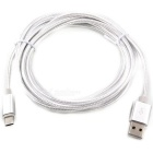 USB 3.1 Type-C to USB 2.0 Nylon Braided Data Cable - Silver (200cm)