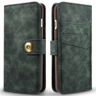Split Leather Flip-Open Wallet Case for IPHONE 7 PLUS - Blackish Green