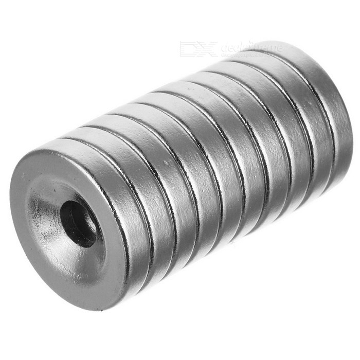 15 * 3mm Strong Round Hole NdFeB Magnets - Silver (10 PCS)