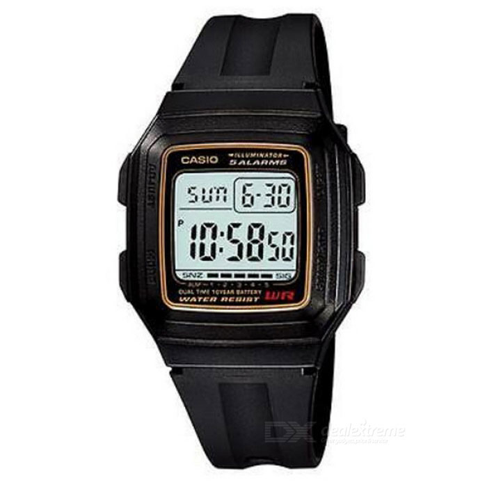Casio F-201WA-9ADF Men's Digital Sport Watch Black/Gold (Without Box)