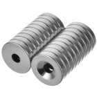 15 * 3mm Strong Round Hole NdFeB Magnets - Silver (20 PCS)