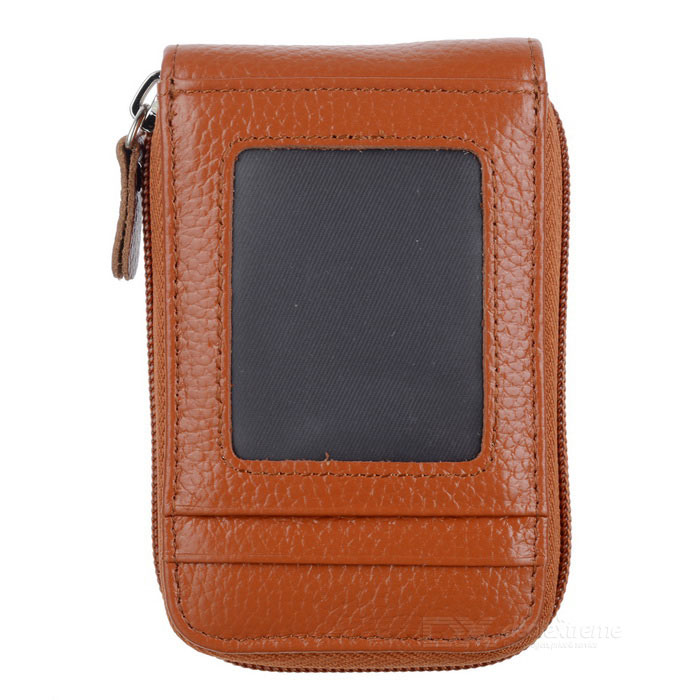 Unisex Portable Zipper Wallet Card Purse - Brown