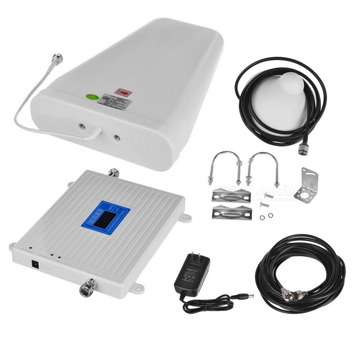 GSM / 2G 3G 4G Mobile Phone Signal Booster - White (US Plugs)Signal Booster<br>Form ColorWhiteQuantity1 DX.PCM.Model.AttributeModel.UnitMaterialMetalNetwork Type2G,3G,4G,OthersNetwork DetailsGSMFrequency RangeUp link: 890-915MHz / 1920MHz-1990MHz; Down link: 935-960MHz / 2110MHz-2180MHzShade Of ColorWhiteApplicationIndoor,OutdoorFrequency Range Uplink890-915MHz / 1920MHz-1990MHzFrequency Range Down Link935-960MHz / 2110MHz-2180MHzMax. Coverage Square Meters100-500Gain (dBi)65DBiOutput Power30DBm DX.PCM.Model.AttributeModel.UnitNoise Figure (Db)&gt; 70dBElectromagnetic CompatibilityETS300 694-3I/O Impedance50ohmPower AdapterUS PlugsPacking List1 * Signal booster<br>