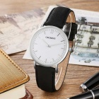 CAGARNY 6855 Roman Numerals Leather Quartz Watch - White+ Silver