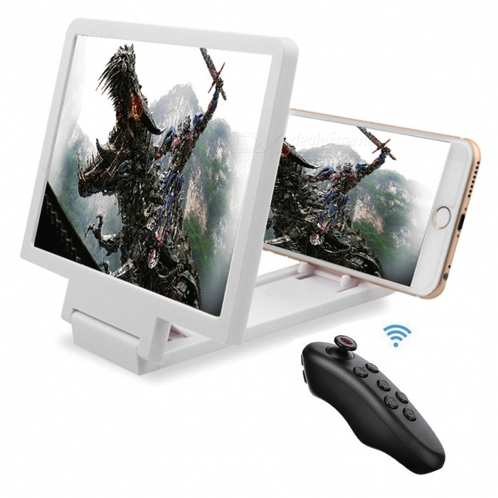 Cwxuan Foldable 3D Video Screen Magnifier Holder, Bluetooth ControllerMounts &amp; Holders<br>Form  ColorWhiteModelX1TMaterialABSQuantity1 DX.PCM.Model.AttributeModel.UnitMount TypeDesktopCompatible ModelsUniversalPacking List1 * Holder1 * Bluetooth controller<br>
