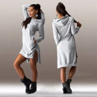 Fashion Irregular Spandex Long-Sleeved Hooded Dress - Grey (M)