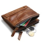 GUBINTU Men's Top Cowhide Leather Folded Wallet w/ Coin Pocket -Coffee