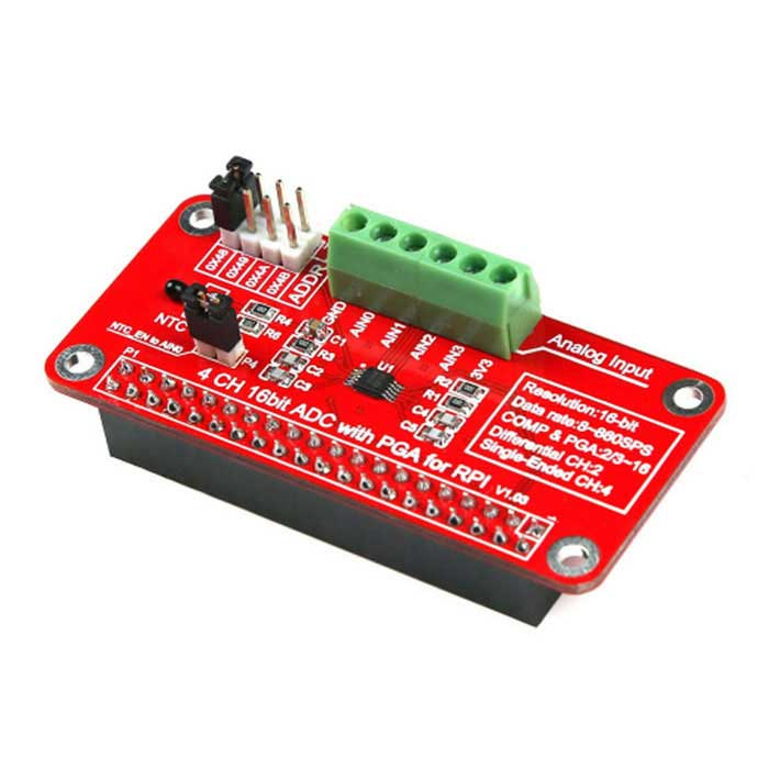 16 Bits ADS1115 ADC Module for Raspberry Pi 3B / 2B / B+ / Zero - RedRaspberry Pi<br>Form ColorRedModelN/AQuantity1 DX.PCM.Model.AttributeModel.UnitMaterialRF4English Manual / SpecNoDownload Link   http://wiki.52pi.com/index.php/RPI-ADS1115-ADC-Module_SKU:EP-0076Packing List1 * Module<br>