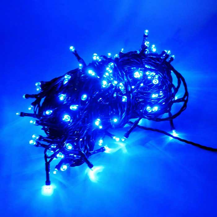 100-LED de carregamento USB + solar powered luz tira azul luz - preto
