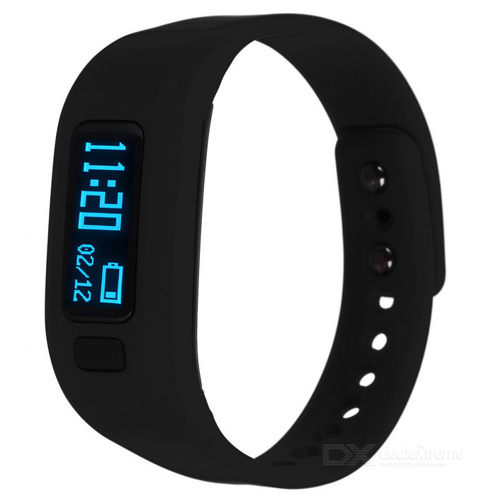 "KICCY UP2 0.91"" OLED TPU Silicone Smart Bluetooth Wristband - Black"