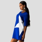 European Style Big Star Siamese One-Piece Dress - Blue (L Size)