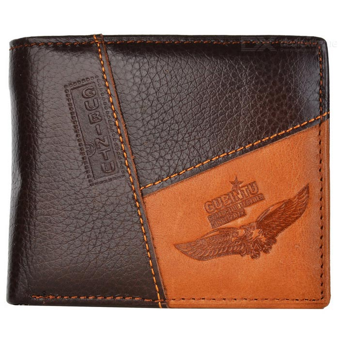 GUBINTU G8042-2 Classic Short Men's Leather Wallet - Coffee + Brown