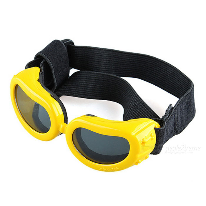 Pet Puppy Dog UV Protection Goggles Sunglasses Eyewear - Yellow (S)