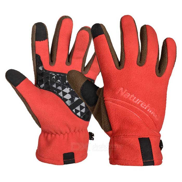 NatureHike Touch Screen Full-Finger Fleece Gloves - Orange (Pair / XL)