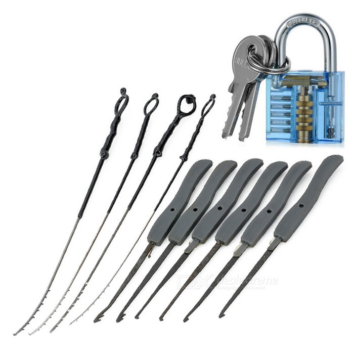 Mini Locksmith Broken Key Extractor Tools + Lock + Keys - Blue + Gray