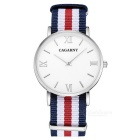 Quartz Watch Clock, Ultra-slim Stainless Steel Case, Nylon Watchband, Suitable for Men and Women