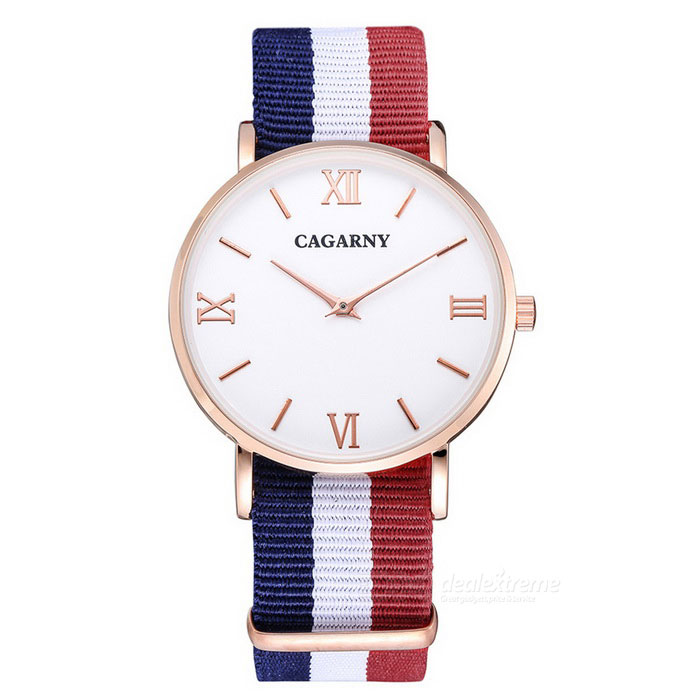 CAGARNY Unisex Casual Style Ultra-thin Quartz Watch - White + Golden