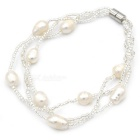 7mm Pearl Beaded Bracelet for Women Girl - Beige