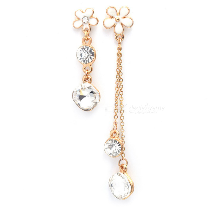 Gold Plated Unique Delicate Irregular Diamond Drop Earrings for Women